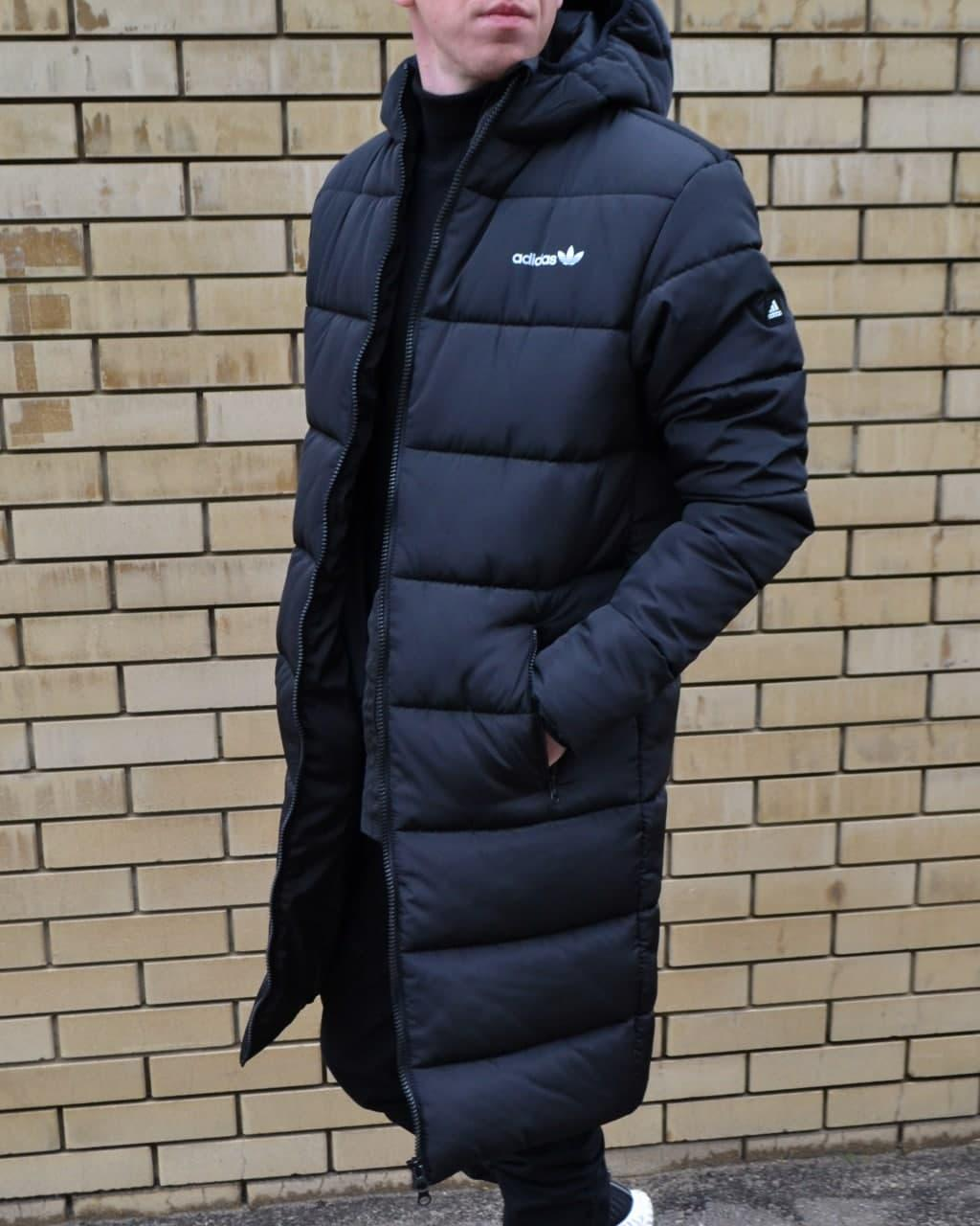Зимняя мужская куртка длинная парка Адидас (Adidas) футбольная куртка