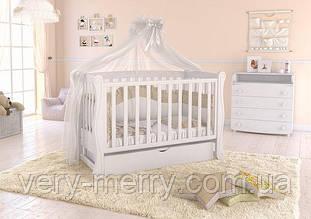 Дитяче ліжечко Angelo Lux-1 з маятником і ящиком (білий колір)