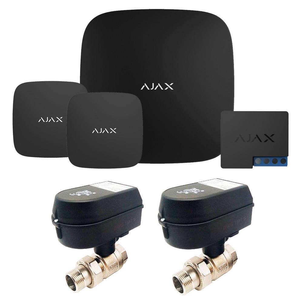 Комплект сигнализации Ajax + кран с электроприводом Honeywell 220 Duo