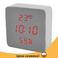 Электронные настольные часы-будильник Led Wood Clock VST-872S-3 - часы с индикатором влажности и температуры