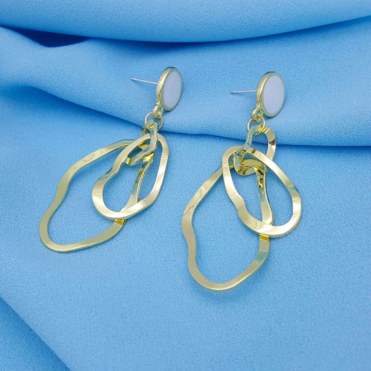 Сережки цвяшки, Асиметричний Овал, з білою емалью, під золото