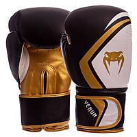 Перчатки боксерские кожаные (р-р 10,12 oz) VENUM VN-009 черный-золотой