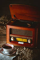 Радио ретро camry cr 1167 с bluetooth, cd / mp3 плеер / запись