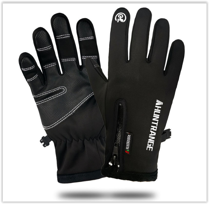 Водонепроникні рукавички чорні Qifandi код 110 унісекс вітрозахисні та теплі флісові світловідбиваючі