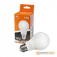 Світлодіодна ЛІД лампа Евросвет 10Вт колір світіння 3000К, цоколь E27, 220V,