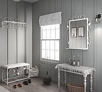Комплект прихожей: вешалка/пуф/зеркало Tenero Хилтон Белый КОД: 10000015