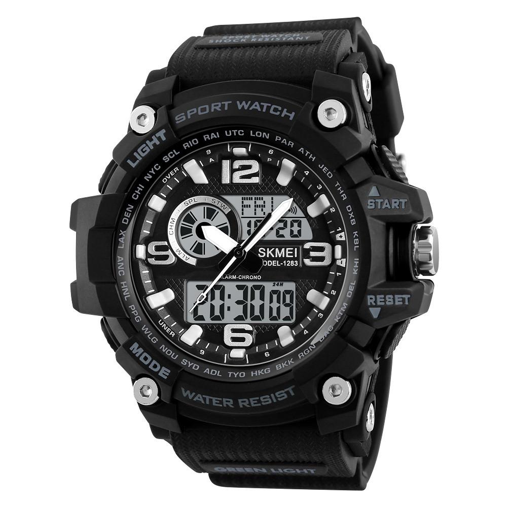 Skmei 1283 disel чорні чоловічі спортивні годинник