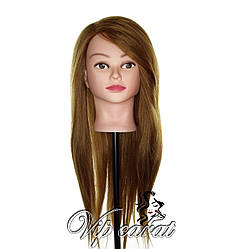 Учебная голова манекен для причесок с натуральными волосами / кукла для зачісок / болванка для парикмахера