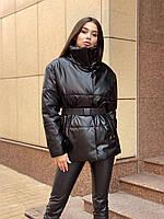Женская демисезонная куртка с эко-кожи, пояс в комплекте (беж, хаки, черный)