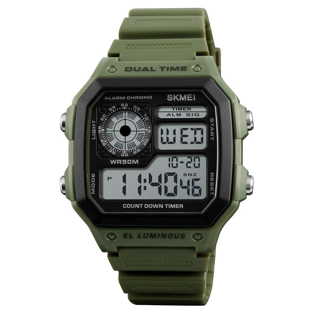 Skmei 1299 зеленые мужские спортивные часы