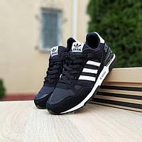 Мужские кроссовки Adidas ZX 750 (черно-белые) 10319 замшевые демисезонные повседневные спортивные кроссы