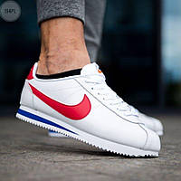 Мужские кроссовки кожаные Nike Cortez Classic White/Red 194PL оригинальные белые кроссы