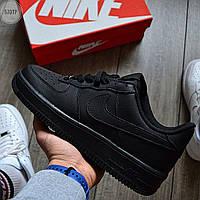 Мужские кожаные кроссовки Nike Air Force Low Black 570TP низкие кеды найк черные