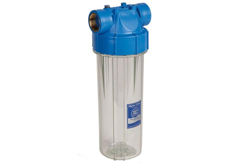Aquafilter Корпус фільтра з клапаном FHPR34-B-AQ, синя кришка, прозорий корпус