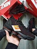 Мужские кроссовки Nike Air Jordan LeBron 16 (черно-красные) 482TP спортивная обувь для баскетбола
