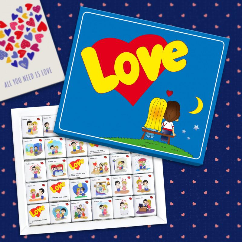 """Шоколадный Набор """"Love is..."""" 12 шоколадок"""