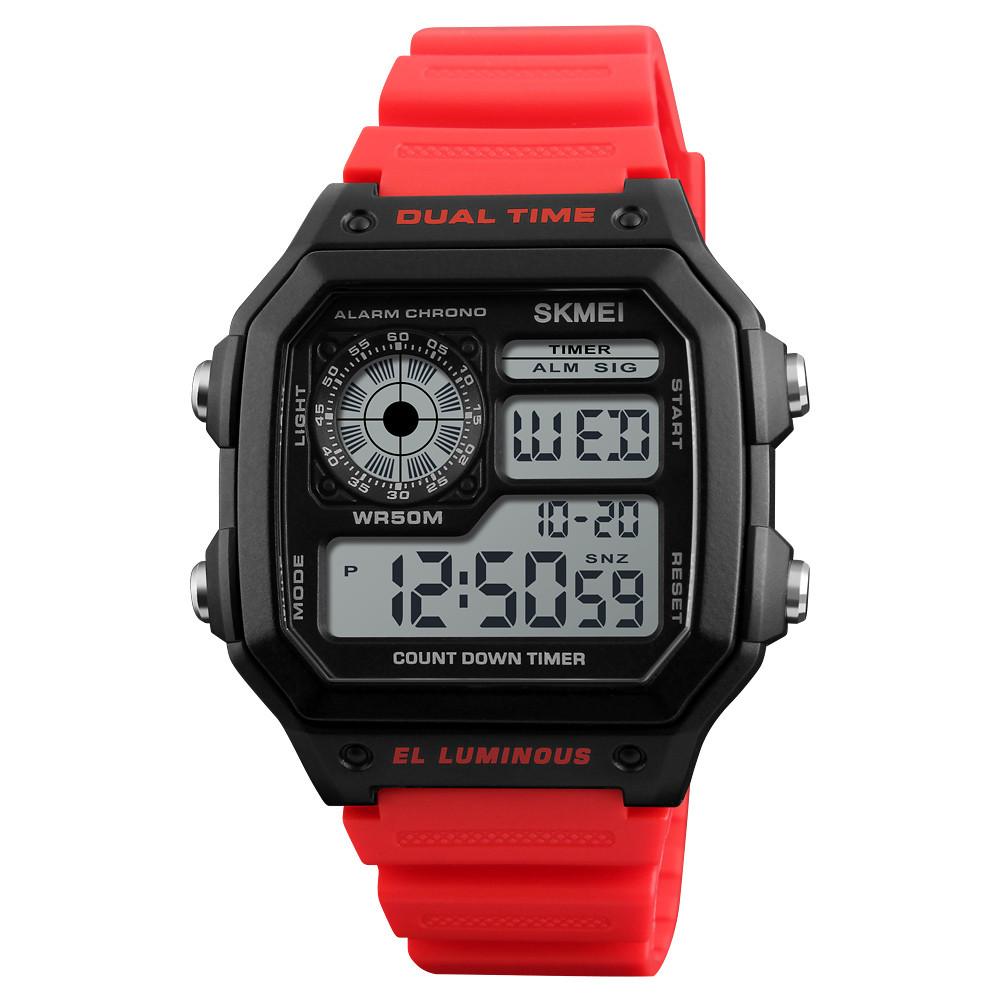 Skmei 1299 красные мужские спортивные часы
