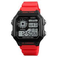 Skmei 1299 червоні чоловічі спортивні годинник, фото 1