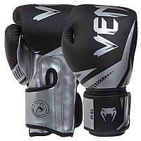 Перчатки боксерские на липучке Venum полиуретан BO-0866 черный-серый