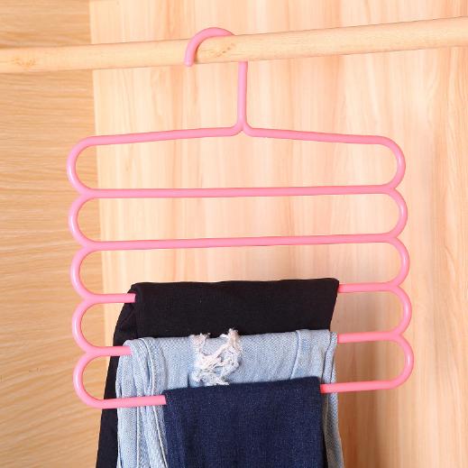 Плечики для брюк пластмассовые лестница 5-ти ярусная  розового цвета, длина 30 см