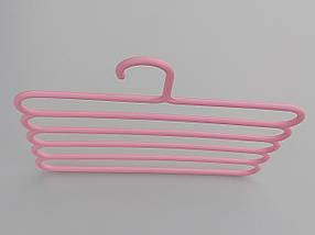 Плечики для брюк пластмассовые лестница 5-ти ярусная  розового цвета, длина 30 см, фото 3