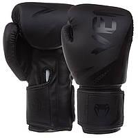 Перчатки боксерские на липучке Venum полиуретан BO-0866 черный
