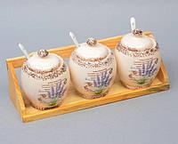 """Набор банок для сыпучих продуктов  """"Lavender"""" с ложечками  YX933"""