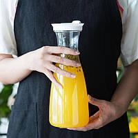Щільна пластикова пляшка з кришкою для напоїв 1л, глечик для соку