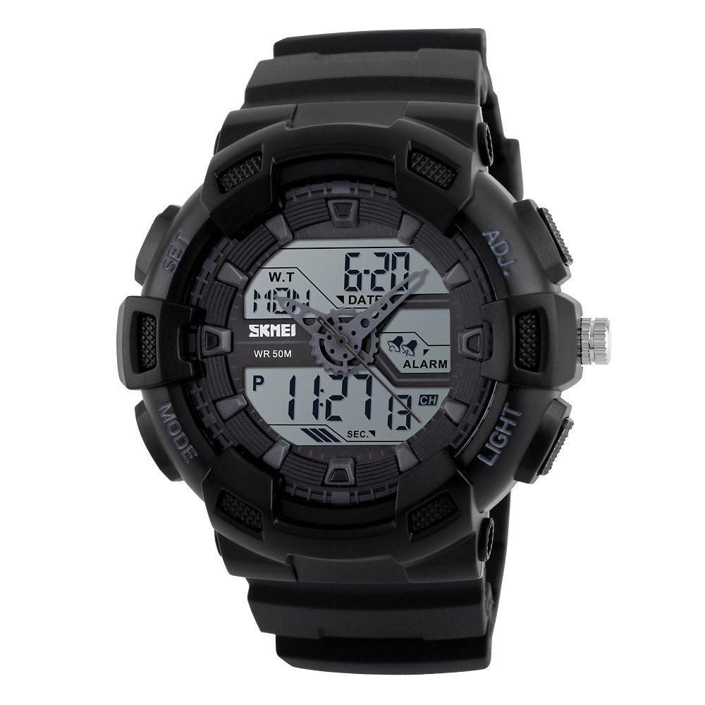 Skmei 1189 чорні з білим дисплеєм чоловічі спортивні годинник