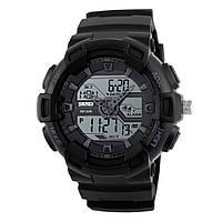 Skmei 1189 чорні з білим дисплеєм чоловічі спортивні годинник, фото 1