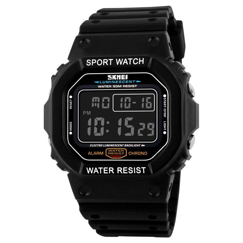 Skmei 1134 чорні з чорним екраном чоловічі спортивні годинник