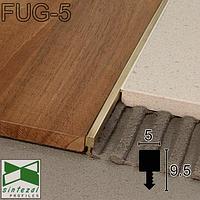 Фуговый латунный профиль под плитку 10 мм., 5х9,5x2500мм. Полированный., фото 1