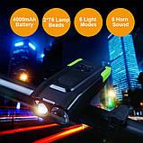 Велосипедный USB фонарь ZACRO + Пульт и Клаксон (800LM, IPX6, Аккумулятор 4000mAh, Дальний и Ближний свет), фото 2