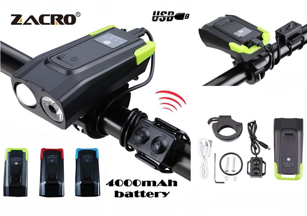 Велосипедный USB фонарь ZACRO + Пульт и Клаксон (800LM, IPX6, Аккумулятор 4000mAh, Дальний и Ближний свет)