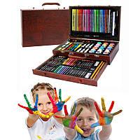 Набор для творчества 123 предмета в деревянном чемодане Artistic Tool Kit + Подарок Пластилин