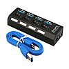 4-портовый USB 3.0 хаб с выключателями, до 5 Гбит/c. USB разветвитель с питанием. USB концентратор, фото 7