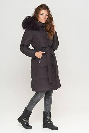 Женская графитовая куртка зимняя с оригинальной меховой опушкой модель 085, фото 2