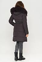 Женская графитовая куртка зимняя с оригинальной меховой опушкой модель 085, фото 3