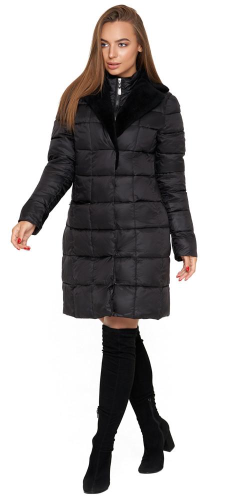 Куртка женская осенне-весенняя черная длинная модель 7311