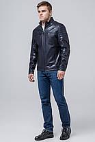 Куртка осенне-весенняя темно-синяя мужская молодежная с воротником модель 3645 (ОСТАЛСЯ ТОЛЬКО 50(L)), фото 2