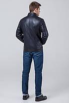 Куртка осенне-весенняя темно-синяя мужская молодежная с воротником модель 3645 (ОСТАЛСЯ ТОЛЬКО 50(L)), фото 3