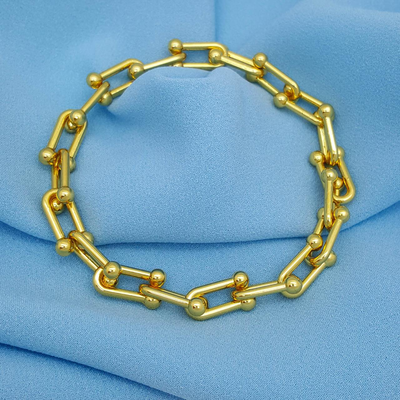 Дизайнерській браслет, Підкова, р.22, без камінчиків, під золото