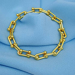 Дизайнерські браслет, Підкова, р.22, без камінчиків, під золото