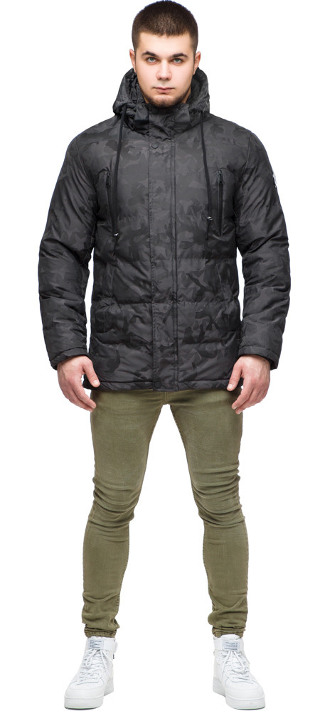 Темно-серая куртка с капюшоном зимняя для мужчин модель 25460