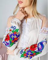 Оригінальна жіноча вишиванка з відкритими плечами оздоблена мереживом