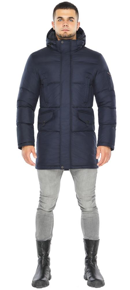 Темно-синяя куртка стильная мужская на зиму модель 47620