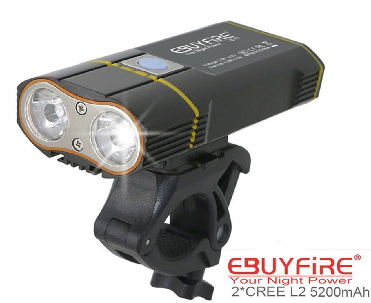 Велосипедный фонарь EBUYFIRE E-Y1+отличное крепление и USB TypeС (XML-L2*2, IPX6, Аккумулятор 18650*2 5200mAh)