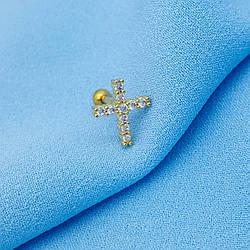 Дизайнерський пірсинг, Хрест з камінчиками, на закрутці, під золото