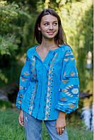 Святкова жіноча вишиванка із льону з геометричним орнаментом