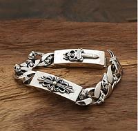 Мужской серебряный браслет двухсторонний Меч и Кельтский Крест Chrome Hearts